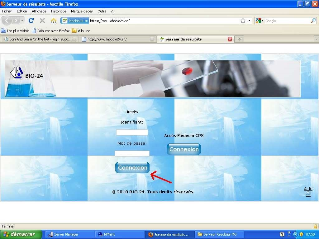 Labobio24 procédure-connexion-serveur